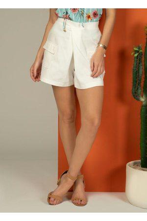 QUINTESS Mulher Short - Short com Bolsos Funcionais Off White