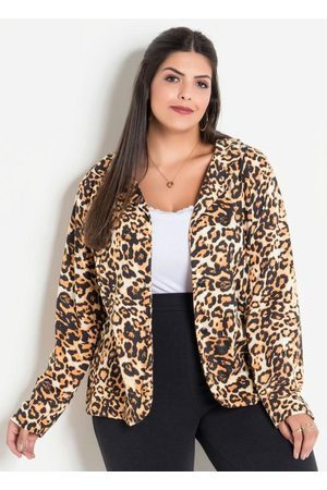 Marguerite Blazer Animal Print Onça Plus Size
