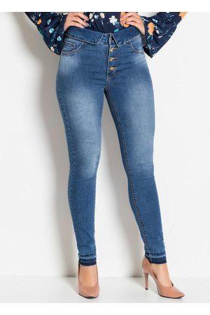 Sawary Jeans Calça Jeans Sawary Cintura Alta com Botões
