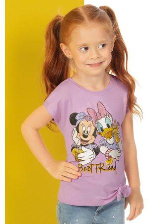 Disney Menina Manga Curta - Blusa Estampada com Laço