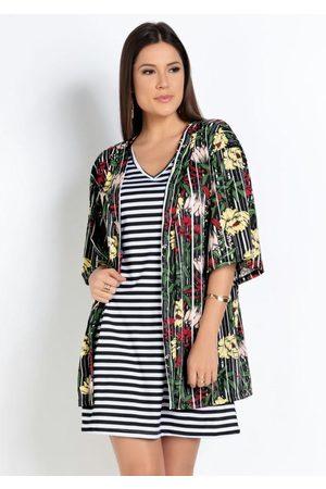 QUEIMA ESTOQUE Mulher Quimono - Kimono Floral Modelagem Ampla