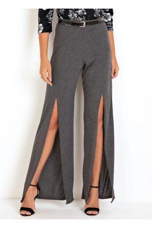 QUEIMA ESTOQUE Calça Pantalona com Fendas Frontais
