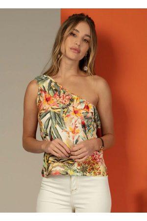 QUINTESS Mulher Blusa - Blusa de um Ombro Só com Babado Tropical Amarela