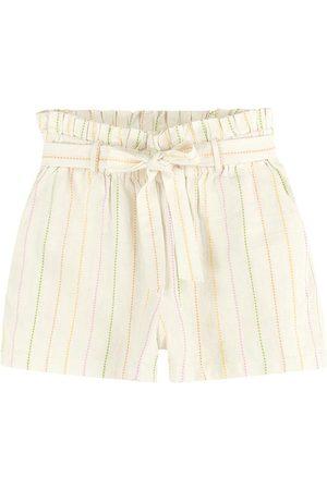 ENFIM Mulher Short - Shorts Off White Clochard Listrado em Linho
