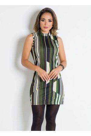 QUEIMA ESTOQUE Mulher Vestido Tubinho - Vestido Tubinho Listras Verdes com Gola Alta