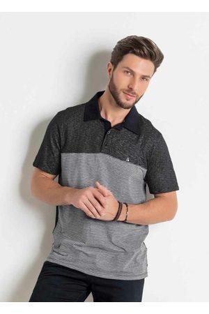 QUEIMA ESTOQUE Camisa Polo Preta e Listrada com Bordado Actual