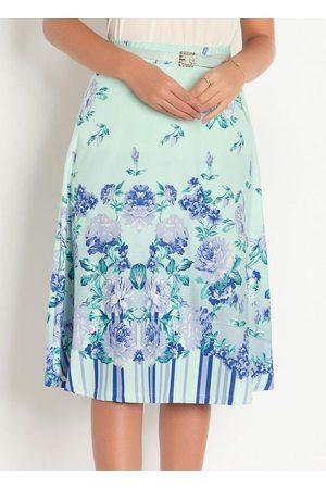 QUEIMA ESTOQUE Mulher Saia Estampada - Saia com Barrado Floral Moda Evangélica