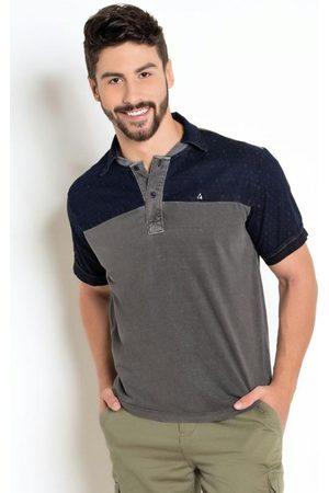 Actual Homem Camisa Jeans - Camisa Polo Detalhes em Jeans Maquinetado.