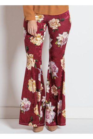 Multimarcas Mulher Calça Flare - Calça Flare Floral Bordô com Bolsos