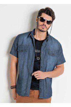 Actual Homem Camisa Jeans - Camisa Jeans com Manga Curta