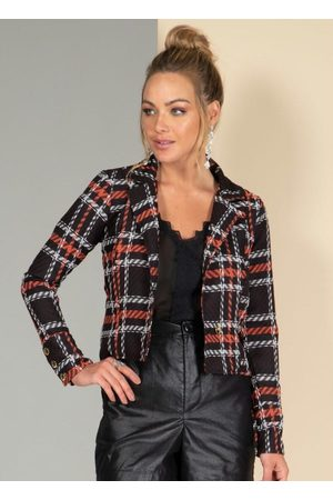 QUINTESS Mulher Blazer - Blazer Encurtado em Tweed Xadrez Coral com Tiras
