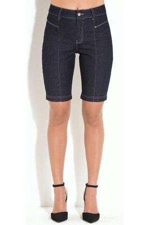 QUINTESS Mulher Bermuda - Bermuda Jeans Escuro com Recortes