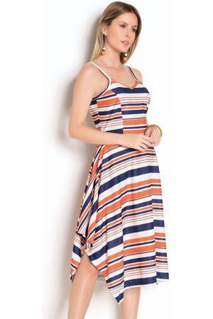 QUEIMA ESTOQUE Mulher Vestido Estampado - Vestido de Alça Listrado com Barra Assimétrica