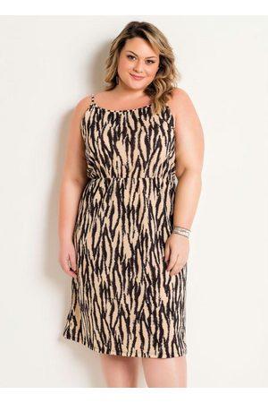 Marguerite Vestido de Alças Midi Plus Size Zebra