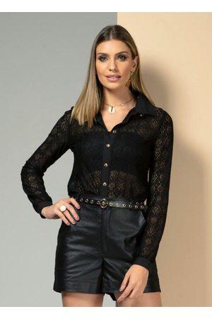 QUINTESS Mulher Camisa Casual - Camisa Preta de Renda com Gola e Botões