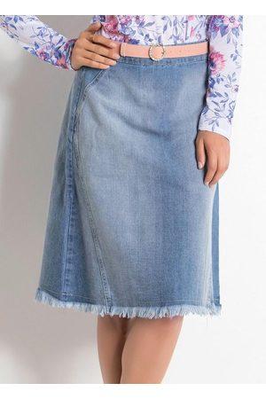 QUEIMA ESTOQUE Mulher Saia Midi - Saia Midi Jeans Claro Moda Evangélica