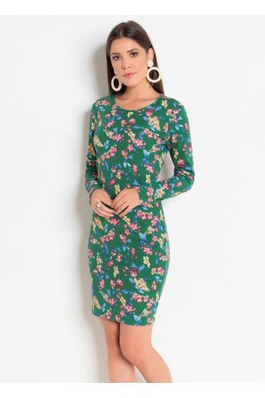 QUEIMA ESTOQUE Mulher Vestido Estampado - Vestido com Mangas Longas e Tubinho Floral