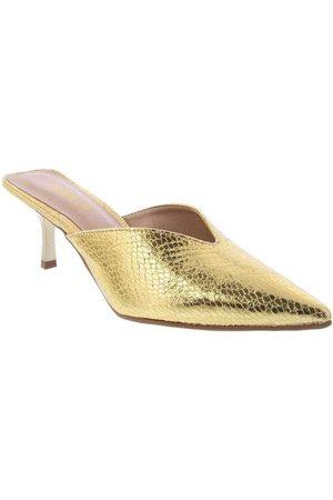 Gabriela Mulher Sapato Mule - Tamanco Salto Fino com Decote Ouro Ouro