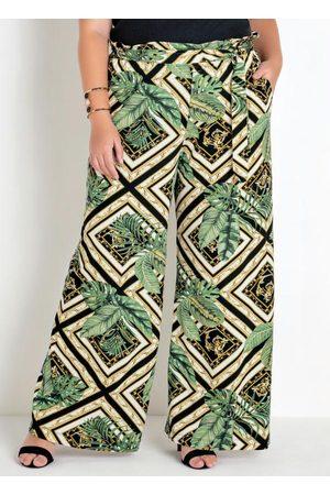 Mink Mulher Calça Pantalona - Calça Plus Size Pantalona Folhagem e Geométrico