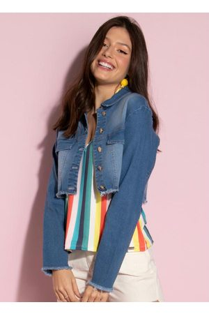 QUINTESS Mulher Jaqueta Jeans - Casaco Jeans com Bolsos Falsos na Frente