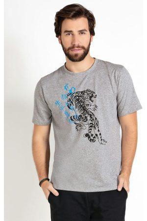 MODA POP Homem Manga Curta - Camiseta com Estampa de Tigre Mescla