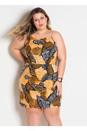Marguerite Mulher Vestidos - Vestido Decote Trapéxio Plus Size Folhagem