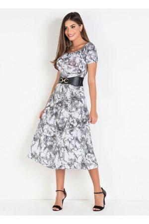 ROSALIE Mulher Vestido Médio - Vestido Marmorizado Moda Evangélica