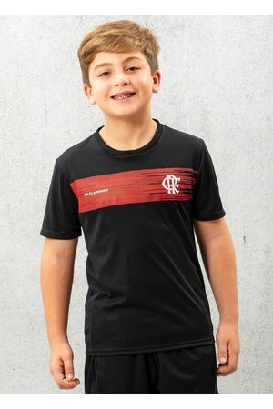 Braziline Menino Manga Curta - Camiseta Infantil Flamengo Shut Preta