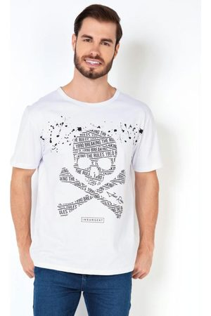 MODA POP Camiseta Masculina Caveira com Escrita Branca