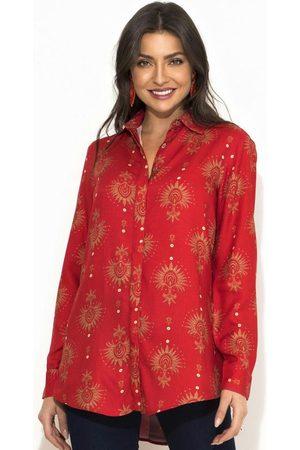 Sacada Mulher Camisa Casual - Camisa Estampa Oriental Vermelha