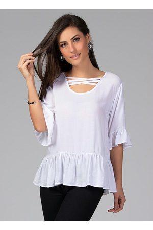 QUINTESS Mulher Blusa - Blusa com Decote de Tiras Off White