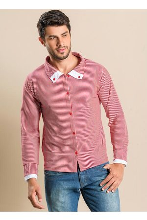 QUEIMA ESTOQUE Homem Camisa Casual - Camisa Listrada Masculina