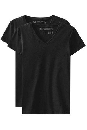 Basicamente Mulher Camiseta - Kit de 2 Camisetas Babylook Básicas Gola V