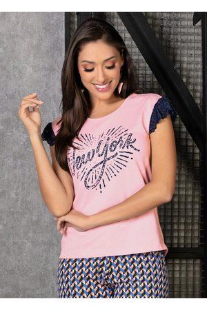 MODA POP Mulher Camiseta - T-Shirt com Renda e Estampa Frontal