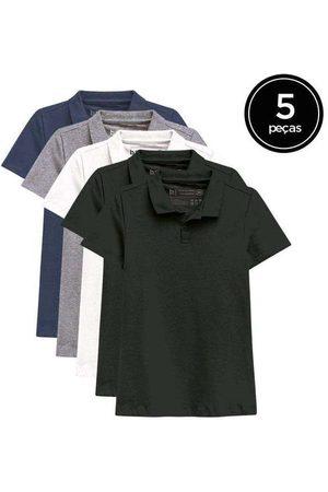 Basicamente Kit de 5 Camisas Polo Femininas de Várias Cores Pr