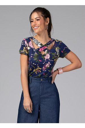 QUINTESS Blusa com Tiras no Decote Floral Marinho
