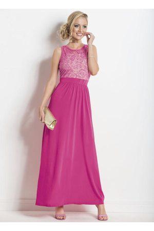 Janine Mulher Vestido Longo - Vestido Longo Transparência Costas Pink