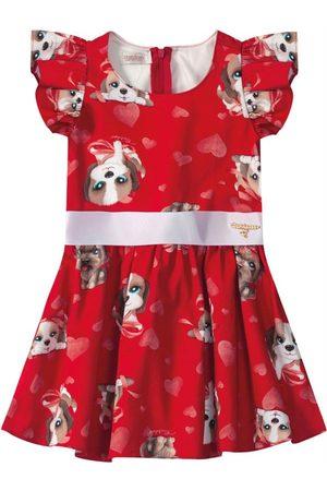 CARINHOSO Vestido Godê Cachorrinhos