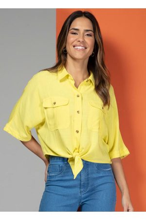 QUINTESS Camisa em Tecido com Bolsos e Botões Amarela