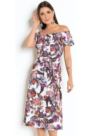 QUEIMA ESTOQUE Vestido com Babado e Faixa para Amarração Floral