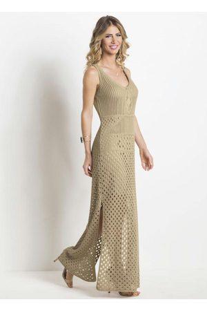 Janine Mulher Vestido de Tricot - Vestido Longo em Tricot Areia