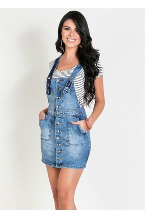 Sawary Jeans Salopete Jeans Sawary com Botões Funcionais