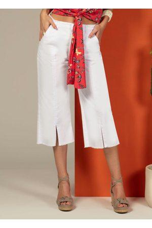 QUINTESS Mulher Calça de Alfataria - Calça Pantacourt Jeans com Fendas Branca