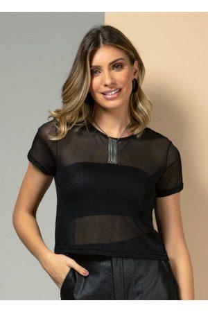 QUINTESS Mulher Básica - Blusa Preta com Transparência