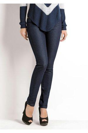 Janine Mulher Cintura Alta - Calça Skinny Cintura Alta Jeans Escuro