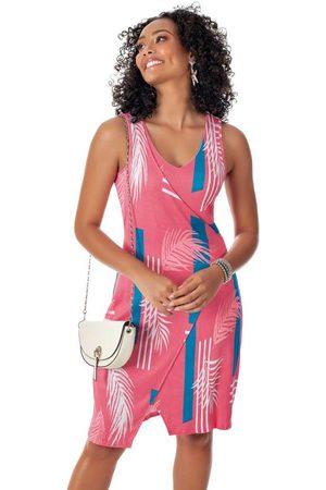 Habana Mulher Vestido Estampado - Vestido Estampado Curto com Decote V