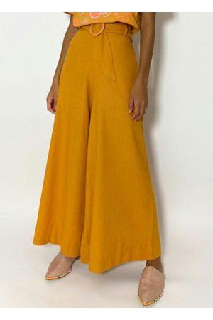 Gentleman Farmer Mulher Calça Pantalona - Calça Pantalona com Fivela