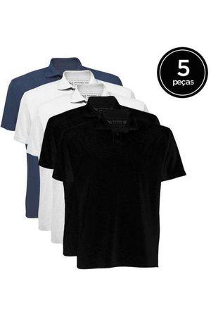 Basicamente Kit de 5 Camisas Polo Masculinas de Várias Cores P