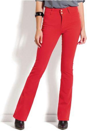 Janine Mulher Calça Flare - Calça Flare Vermelha