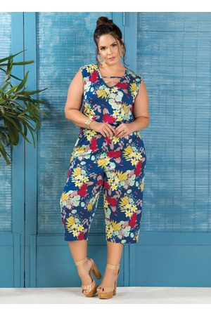 Marguerite Macacão Pantacourt Plus Size Floral